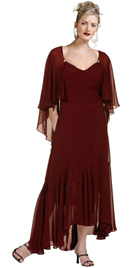 Daytime dress in Silk chiffon has prominent neckline and flutter sleeves