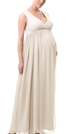 Gathered Back Zipper Maternity Dress