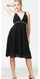 Black Knee Length Empire Classy Dress