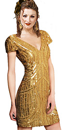 New Gold Sequined Short Cocktail Dress