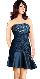 New Strapless Beaded Bodice Cocktail A-Line Dress