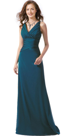 Online Womens Day Dresses| Pleated V Neckline Womens Day Gown