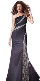 Stylish Beaded One Shoulder Party Gown