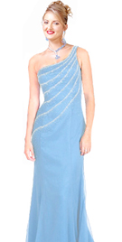 One shoulder Beaded chiffon prom dress
