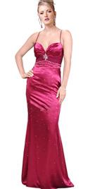 Beaded thin spaghetti straps prom dress