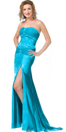 Dazzling high slit prom dress