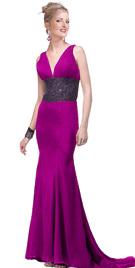 Beaded midriff prom dress
