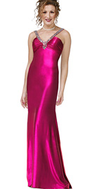 Beads Embedded V-neckline prom dress