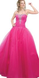 Pink beaded ball prom dress