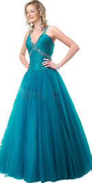 Low waist ice blue prom party dress