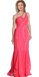 One shoulder beaded double strap prom gown