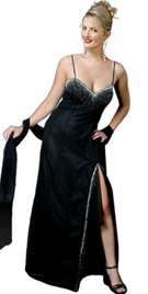 Spaghetti Strap Stone Embedded Front Slit Prom Gown