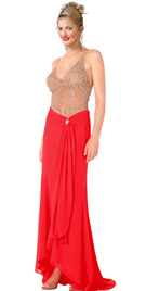 Net Bodice red Beaded Evening Dress