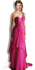 Floral One Shoulder Prom Night Gown