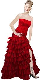 Satin Beaded Red ruffled Prom Dress