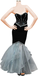strapless beaded velvet black ruffled prom dress