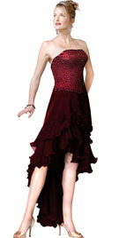 Strapless Beaded Hi-Lo Ruffled Prom Dress