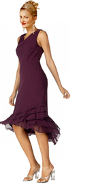 Cawl Neck Ruffled Hem Evening Dress