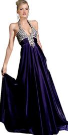 Deep V-Neck Evening Gown
