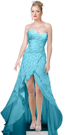 Faux Wrapped Bodice Evening Gown