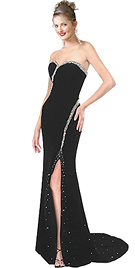 Sweet heart neckline black velvet premium dress, silver sequins