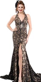 Halter Neckline Long Red Carpet Dress