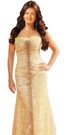 Sofia Vergara Inspired Golden Red Carpet Dress