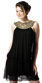 Broad Beaded Neckline Summer Dress