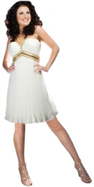 Gold Beaded Pleated Summer Dress