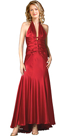 Halter satin prom dress has a plunging V front & a flattering elongated silhouette