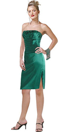 Strapless evening dress in silk satin