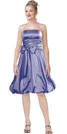 Stylish and versatile strapless flat silk satin tea length hem dress