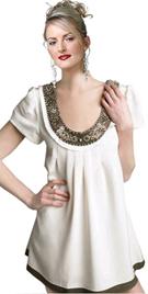 Metallic Beaded Scoop Neck Satin Dress