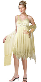 Dazzling Empire Embellished Multipanel Evening Dress