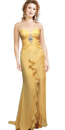 Snazzy Strapless Yellow Chiffon Prom Gown