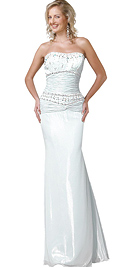 Stone Embroidered Satin Evening Dress