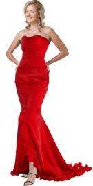 Corset Inspired Two Piece Satin And Chiffon Dress