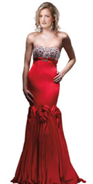 Ravishing Beaded Red Winter Gown